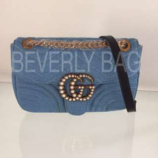 jual tas Gucci Marmont GG LEATHER MIRROR - blue