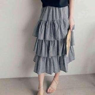 韓國♥格紋蛋糕裙