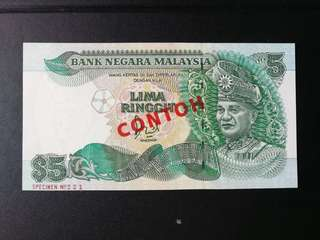 Malaysia 5 ringgit (ND 1986 to 1987) signed by jaffar Hussein Specimen/CONTOH unc