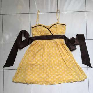 Forever21 Yellow Polka Dots Dress