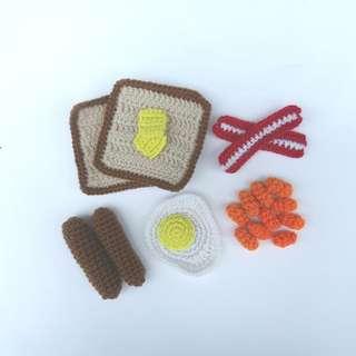 PLUSHIE Ready To Ship: Breakfast Set, Toast, Egg, Bacon, Hotdog, Baked Beans, Play Food (Crochet Amigurumi)