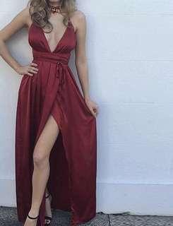 Prom Dress- backless and tie wrap waist