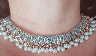 Brand New Faux Pearl and Crystal Choker