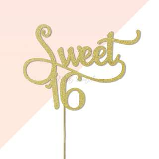 Sweet 16 Gold Glitters Cake Topper