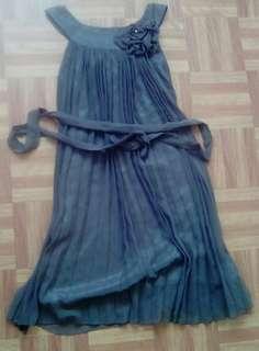 Chiffon grey pleated dress