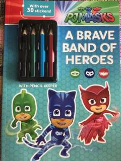 Pj masks a brave band of Heroes with colour pencil