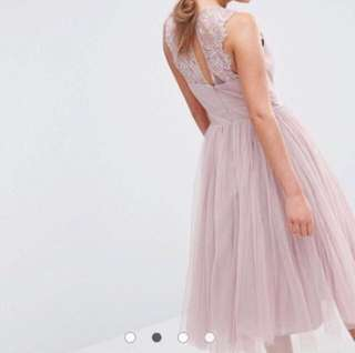 🎈Bridesmaid Collection - ASOS Mink Embellished Midi Tulle Dress with Lace
