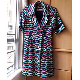 MISSONI  FOULARD ITALY  luxury 女 夏季 鮮豔 針織 花紋 短袖 修身 包臀 長外套 通爽