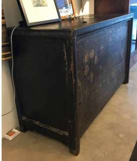 Antique Black Chinese Lacquer Cabinet