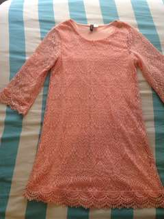 Pastel pink lace dress