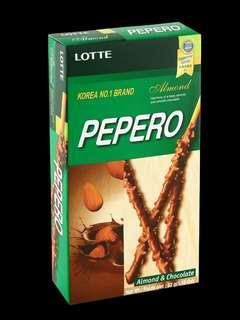 👉🏻 Pepero ~  1 kotak besar ad 8kotk kecil (dlm 10btg) 🍬 Almond