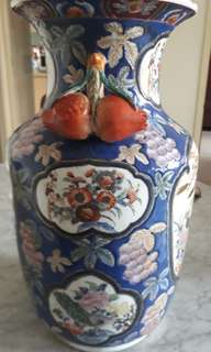 antique vase /peacock hanging fruits a very rare /master hand works of the old 1900s/8k upwards