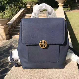 Tory Burch Chelsea Blue Backpack with Chain