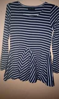 Baju panjang navy putih