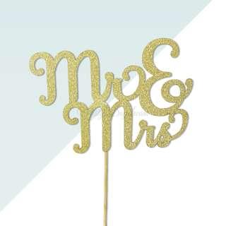 Mr & Mrs v2 Gold Glitters Cake Topper