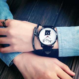 Korea Style Eco Leather Man or Women Watch - Cat (1pcs)