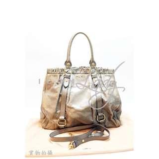 🎉貨主減價 👏🏻 👏🏻MIU MIU RN0423 灰啡色/灰色/灰杏色 (大號) 亮面皮革 三用 手挽袋 斜揹袋 側肩袋 購物袋 手袋  HK$2380 減至--> HK$1980