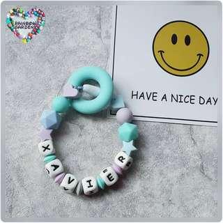 Customised Handmade Silicone beads Bracelet / Baby Ring Teether Rattle , Teething Toy