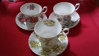 Royal Albert 3 sets of bone china teacups and saucers