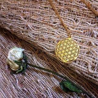 🇺🇸Flower of Life Necklace生命之花神聖幾何不銹鋼鍍K金項鍊