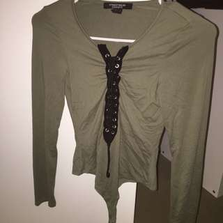 Army Green Laced Tie Up Bodysuit