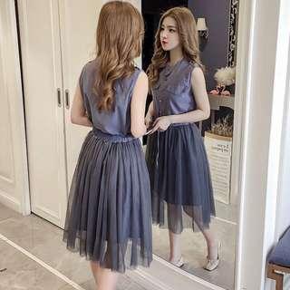 🚚 韓版雜誌款兩件式套裝無袖單排扣連身裙洋裝網紗半身裙