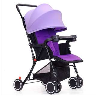 Easy Fold Lightweight Baby Stroller Kid Stroller With Brake System Purple