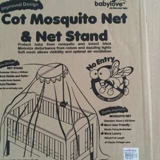 Mosquito Net & Net Stand for baby cot