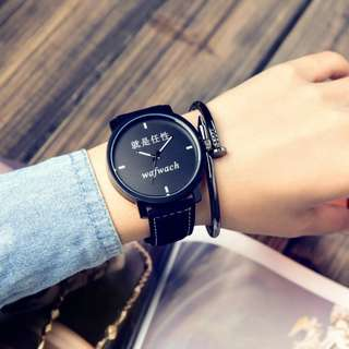Korea Style Eco Leather Man or Women Watch - WAFWACH (1pcs)