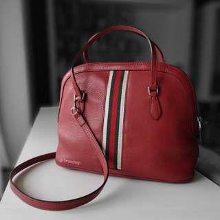 Authentic Gucci Leather Web Stripe Convertible Dome Bag