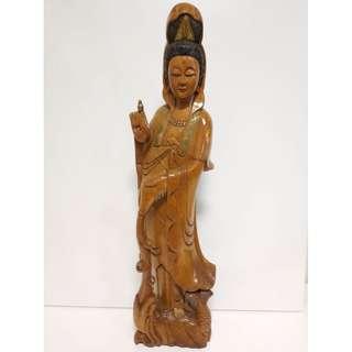 尚典中古家具(二手家具)~中古木雕(二手擺飾)原木觀音木雕擺飾無開光無拼接