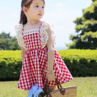 ✔️STOCK - WHITE LACE PREMIUM CHECKERED RED TODDLER GIRL FLARE SUN DRESS  KIDS CHILDREN CLOTHING