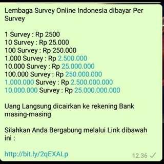 Survey Online Dibayar Rp 2.500 Per Survey