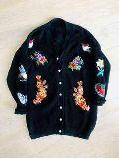 Oversized patchwork/embroidered cardigan
