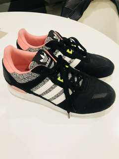 Pink black and grey suede Adidas sneakers
