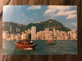 七十年代香港維港景實寄明信片