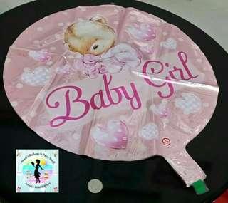 Pink Baby Girl / Bear Design Foil Balloon