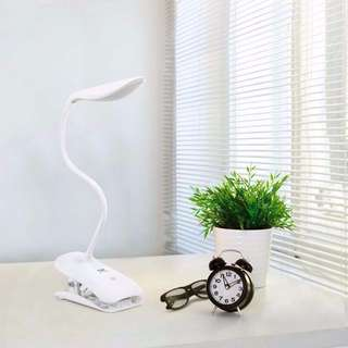 LAT0326WH - (SALE) Clip Desk Table Lamp 2-IN-1 Stand on Own / Touch LED USB Rechargeable Dimmable Portable Eye Protection Lamp