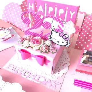 Happy 22nd Birthday hello kitty Explosion Box card