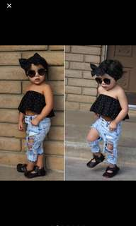 3pcs set top+ripped jeans+scarf