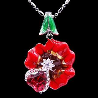 ENAMEL PENDANT RED ROSE FLOWER PLATED WHITE GOLD WITH NECKLACE