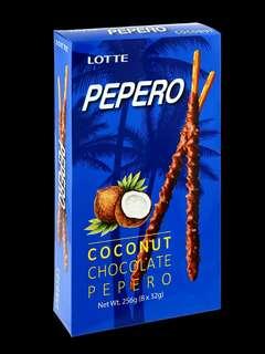 👉🏻 Pepero ~  1 kotak besar ad 8kotk kecil (dlm 10btg)  🍬 Coconut Chocolate