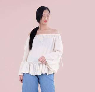 HTP Off White Off Shoulder Eyelet