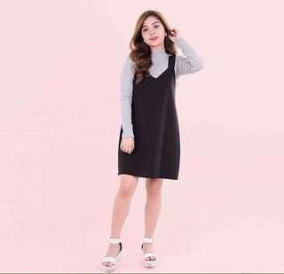 HTP Black Neoprene Pinafore Dress