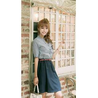 OL立領條紋襯衫收腰連身裙 XL碼