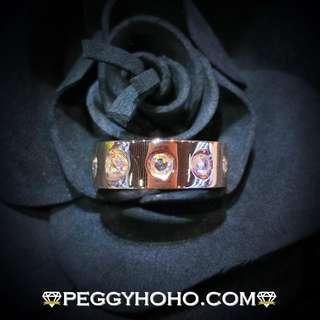 【Peggyhoho】 全新18K玫瑰金色1卡30份閃爆真鑽石戒指|ROSE CUT鑽石 | 罕有渾身粗戒指HK14.5號