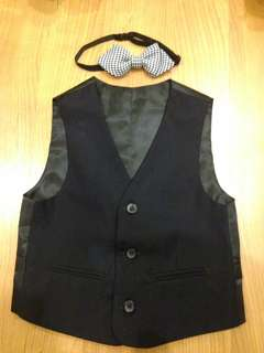 Boy black vest & bow tie 3y