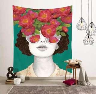 小預算佈置術美女鮮花怒放裝飾掛布壁畫
