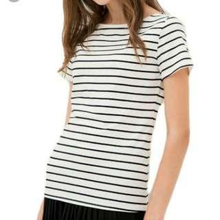BNWT White Striped Short Sleeve T Shirt Top