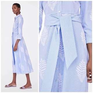 🚚 OshareGirl 04 歐美女士條紋刺繡長版襯衫式上衣洋裝連身洋裝裙